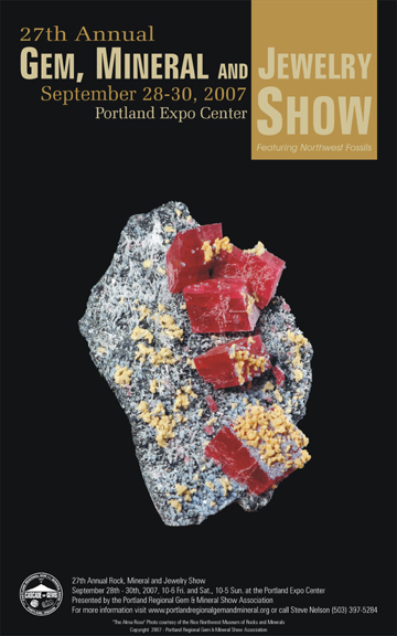 Portland Regional Rock and Gem Show 2007 show poster.