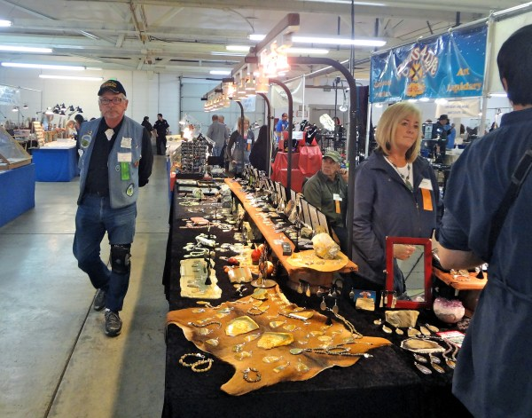 Portland Regional Gem and Mineral Show Mike Medvec of the Oregon Agate club greets visitors