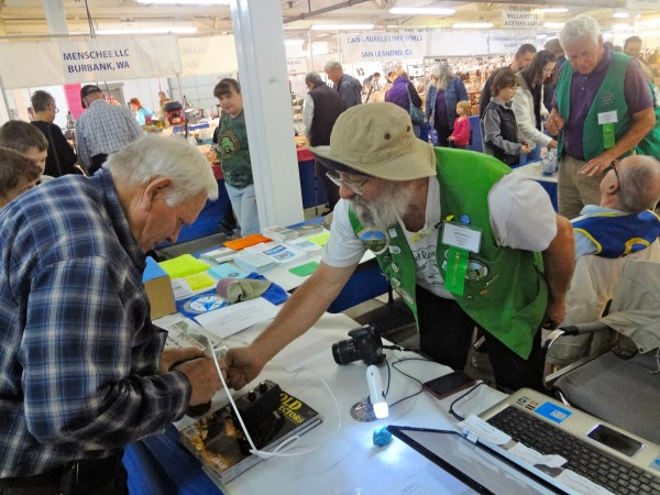 Portland Regional Gem and Mineral Show Rick Beehler of the Mt Hood Rock Club helps visitors