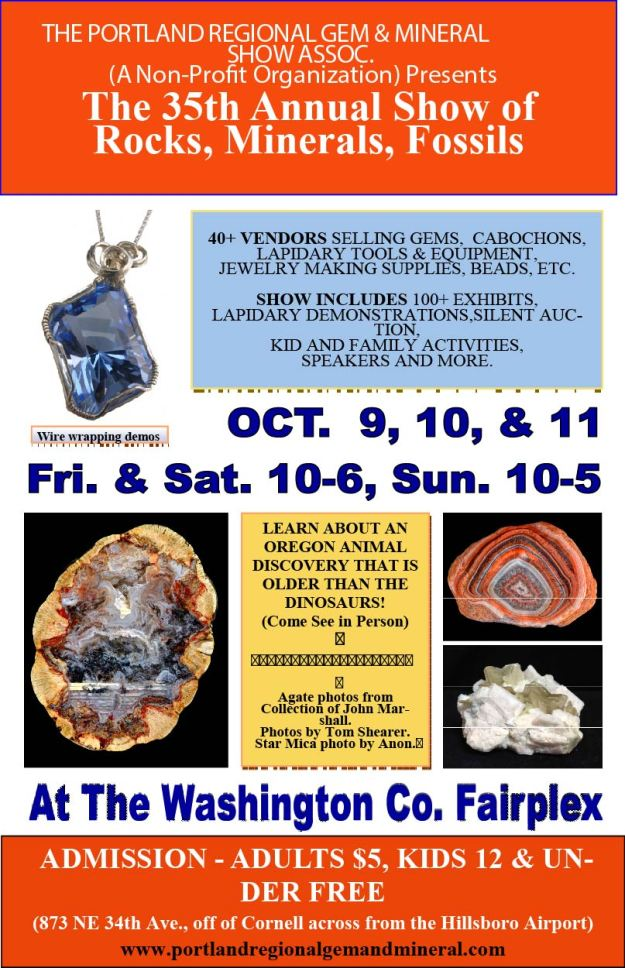 Portland Regional Rock and Gem Show Flyer for 2015