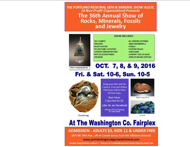 Portland Regional Gem and Mineral Show flyer